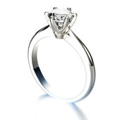 Golden Engagement Ring with Diamond — Stock Photo