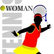 Woman Tennis player poster. Colored Vector illustration for desi — Stock Vector #56520577