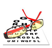 Glasses for reading with table for eye exams. Eps 10 Vector illu — Stock Vector