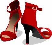 Fashion woman red shoes. Vector illustration — Stock Vector