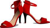 Moda kobieta czerwone buty. ilustracja wektorowa — Wektor stockowy