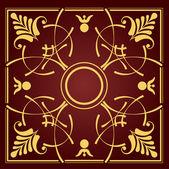 Zlatý ornament na hnědé pozadí. lze použít jako pozvání auto — Stock vektor
