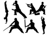 Sport karate man doing exercise. Vector illustration — 图库矢量图片