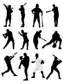 Big set of black and white of baseball player silhouettes. Vecto — Vetorial Stock