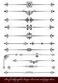 Vector conjunto de elementos de diseño caligráfico y decoración de página — Vector de stock