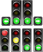 Set of traffic lights. Red signal. Yellow signal. Green signal — Stock Vector