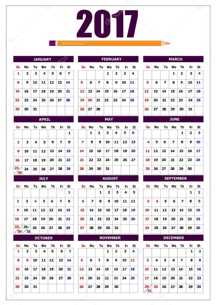2017 calendário com imagem de lápis e feriados americanos. Vector il ...