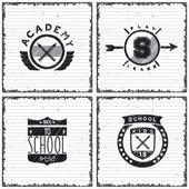 Set of school emblems — Stok Vektör
