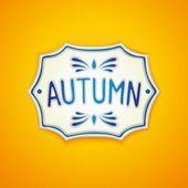 Autumn handmade Gzhel label — Vettoriale Stock