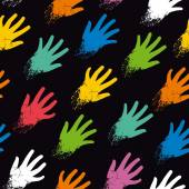 Seamless pattern of colored hands on the diagonal — Cтоковый вектор