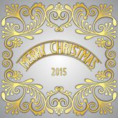 Merry Christmas 3D golden signboard — Stock Vector