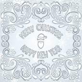 Christmas snowy relief design — Stock Vector