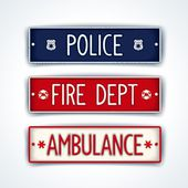 Police, fire department, ambulance car signs — Stock Vector