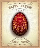 Vintage happy easter and holy week card — Stock Vector