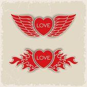Heraldic volumetric hearts — Stock Vector