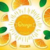 Fresh orange vitamins — Stock Vector