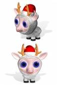 Ewe in Santa Claus's cap — Stock Photo