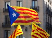 Few flying Catan flags  — Stock Photo