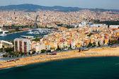 Aerial view of Barceloneta  from Mediterranean.  Barcelona  — Stock Photo