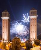 Firework in ending of La Merce Festival   — Stock Photo