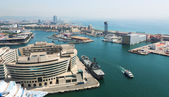 Aerial view of Main building of Port Vell. Barcelona  — Stock Photo