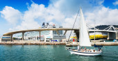 Passenger terminals at  Port of Barcelona from sea — Stock Photo