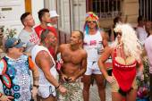 People at street in Gay pride parade in Sitges — Stock Photo