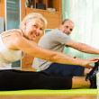 Mature couple doing exercises — Stock Photo #52527319