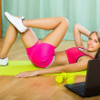 Girl working out with notebook — Stock Photo #52527391