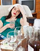 Suffering girl having hangover   — Stock Photo