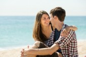 Girl and her boyfriend smiling — Stock Photo