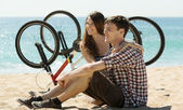 Joyful young couple after cycling — Stock Photo