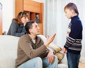 Ordinary parents berating teenager son — Stock Photo