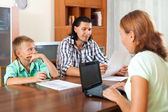 Father and son complete a questionnaire — Stock Photo