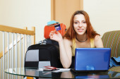 Woman buying tickets  online — Stock Photo