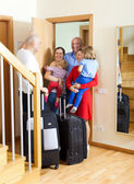 Family seeing off the relatives — Stock Photo