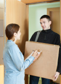 Postman brought package — Foto Stock