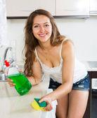 Ev hanımı temizlik mobilya mutfak — Stok fotoğraf