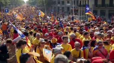 People at National Day of Catalonia — Stock Video