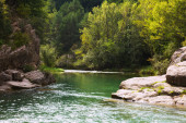 Mountains river with rocky riverside.  Pyrenees — Stock Photo