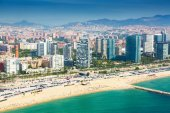 View of Barcelona from  the helicopter  — Stock Photo