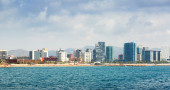 View of Barcelona from sea  — Stock Photo