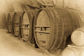 Aged photo of   barrels in french winery    — Stock Photo
