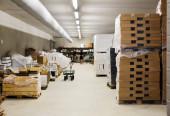 Interior of warehouse of supermarket — Stock Photo