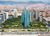 Aerial view of Barcelona from helicopter — Stock Photo