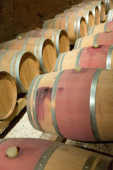 French winery with  wooden barrels  — Stock Photo