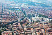 Aerial view of Barcelona with Sants station from helicopter — Stock Photo