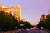 Paseo de la Castellana in sundown. — Stock Photo