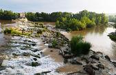 Day view of dam across Ebro at Logrono. — Stock Photo