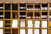 Shelvings with wine bottles   — Foto Stock
